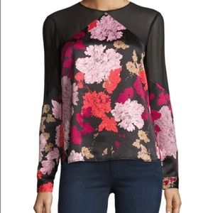 floral faux silk top with sheer details